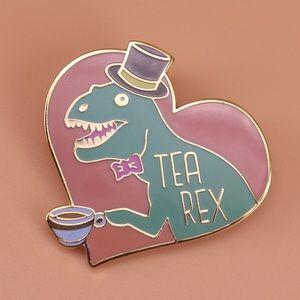 """🆕 Gentleman T-rex dinosaur """"Tea Rex"""" Pin Brooch❣️"""